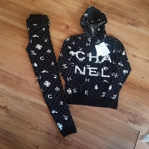 tracksuit chanel black white